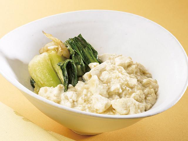 ちんげん菜のふわふわ豆腐のせ